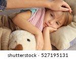 small sick girl with teddy bear ... | Shutterstock . vector #527195131