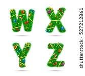 fir tree font letters.... | Shutterstock .eps vector #527212861