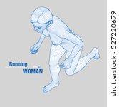 3d running woman. wireframe... | Shutterstock .eps vector #527220679