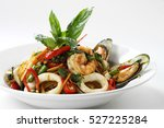 stir fried spicy spaghetti... | Shutterstock . vector #527225284