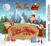christmas banners with santa... | Shutterstock .eps vector #527229394