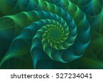Abstract fractal blue and green nautilus shell. Golden spiral. An amazing fibonacci pattern in a sea shell. Ammonite. Fractal fine art.