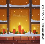 snow covered window with... | Shutterstock .eps vector #527238415