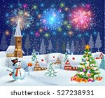 a house in a snowy christmas... | Shutterstock .eps vector #527238931