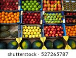 Fruits Background In Boxes...