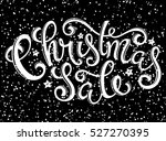 christmas sale poster with hand ... | Shutterstock .eps vector #527270395