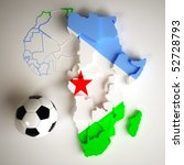 djibouti flag on map of africa... | Shutterstock . vector #52728793