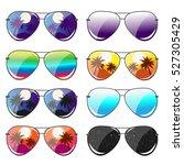 set of 8 glasses. vector... | Shutterstock .eps vector #527305429