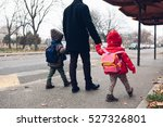 dad with kids going to the bus... | Shutterstock . vector #527326801