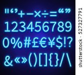 glowing neon numbers  text... | Shutterstock .eps vector #527327791