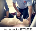 cpr first aid training concept | Shutterstock . vector #527337751