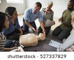 cpr first aid training concept | Shutterstock . vector #527337829