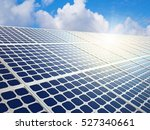 row of solar energy panels with ... | Shutterstock . vector #527340661