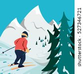 skier in mountains. winter... | Shutterstock .eps vector #527346721