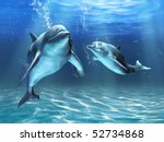 Two Dolphins Happily Swimming...