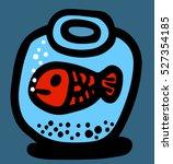 fish in a round aquarium   Shutterstock .eps vector #527354185