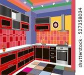 kitchen design cherry kitchen... | Shutterstock .eps vector #527358034