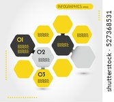 yellow infographic hexagonal... | Shutterstock .eps vector #527368531