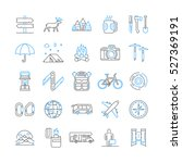 vector line icons set of hiking ... | Shutterstock .eps vector #527369191