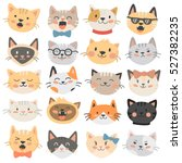 Stock vector cats heads emoticons vector 527382235