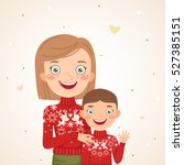 happy christmas family look ... | Shutterstock .eps vector #527385151