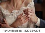 wedding couple holding hands ... | Shutterstock . vector #527389375