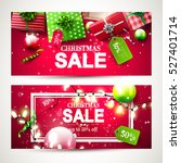 christmas sale headers with red ... | Shutterstock .eps vector #527401714