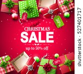 christmas sale poster with red... | Shutterstock .eps vector #527401717