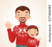 happy christmas family look ... | Shutterstock .eps vector #527406085