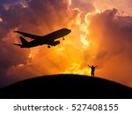 silhouette the man standing... | Shutterstock . vector #527408155