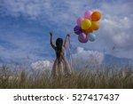 cute little girl holding... | Shutterstock . vector #527417437