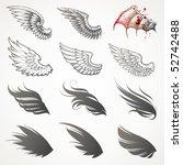 vector set of wings   Shutterstock .eps vector #52742488