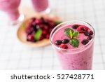mixed berries with yogurt... | Shutterstock . vector #527428771