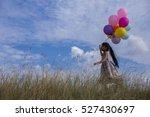 cute little girl holding... | Shutterstock . vector #527430697