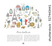 set of hand drawn french icons  ... | Shutterstock .eps vector #527443441