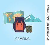 hiking and camping. backpack on ... | Shutterstock .eps vector #527449531