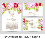 invitation with floral... | Shutterstock . vector #527453545