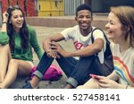 friends hipster teenager... | Shutterstock . vector #527458141