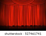 red curtains and wooden stage... | Shutterstock . vector #527461741