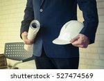 engineers and u white helmets... | Shutterstock . vector #527474569