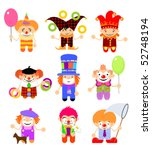set of cartoon clowns | Shutterstock .eps vector #52748194