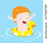boy swimming with inflatable... | Shutterstock .eps vector #527482789