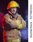 portrait of a fireman wearing... | Shutterstock . vector #527483161