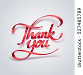 red ribbon of thank you... | Shutterstock .eps vector #527485789