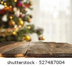 christmas table background with ... | Shutterstock . vector #527487004