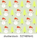 cute sweet snowman with... | Shutterstock .eps vector #527489641