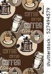 coffee  doodle seamless pattern ... | Shutterstock .eps vector #527494579