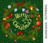 vector green christmas wreath... | Shutterstock .eps vector #527498341