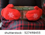 two hands in red mittens with... | Shutterstock . vector #527498455