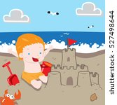 Boy Making Sand Castle In The...